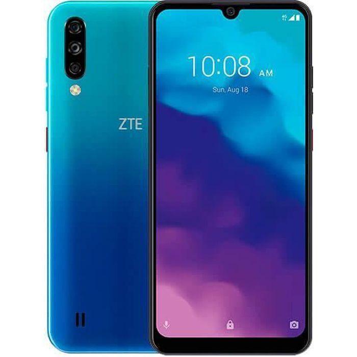 ZTE Blade A7 2020 3 Go / 64 Go Bleu (Bleu Lac) Double SIM Equipé d'un écran 6,1 ″ HD + avec encoche goutte d'eau et cadres réduits.