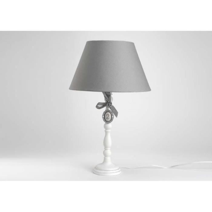 lampe de chevet blanche ab gris rond vendues p achat. Black Bedroom Furniture Sets. Home Design Ideas