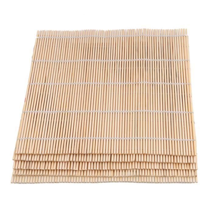 TIGE BOIS - BAMBOU 24x24cm Bambou Sushi Roulant Tapis Rouleau Lot de