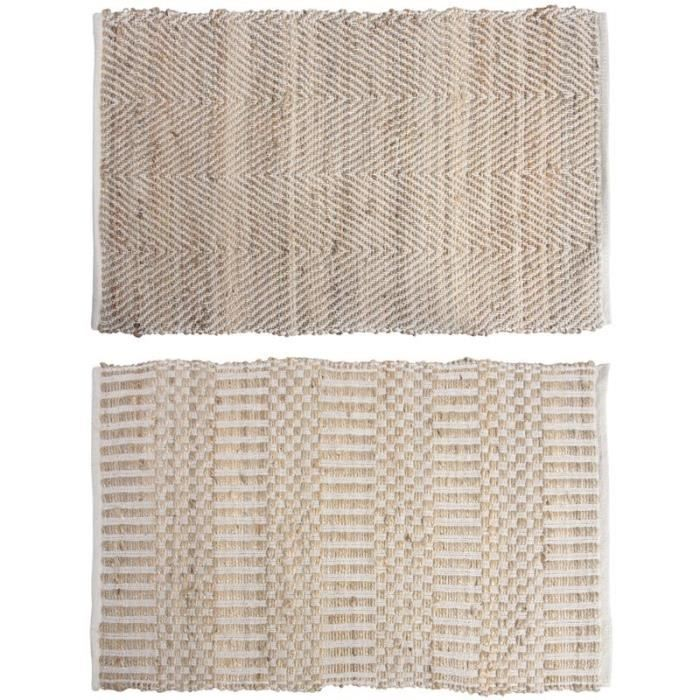 tapis descente de lit en jute et coton achat vente tapis cdiscount. Black Bedroom Furniture Sets. Home Design Ideas