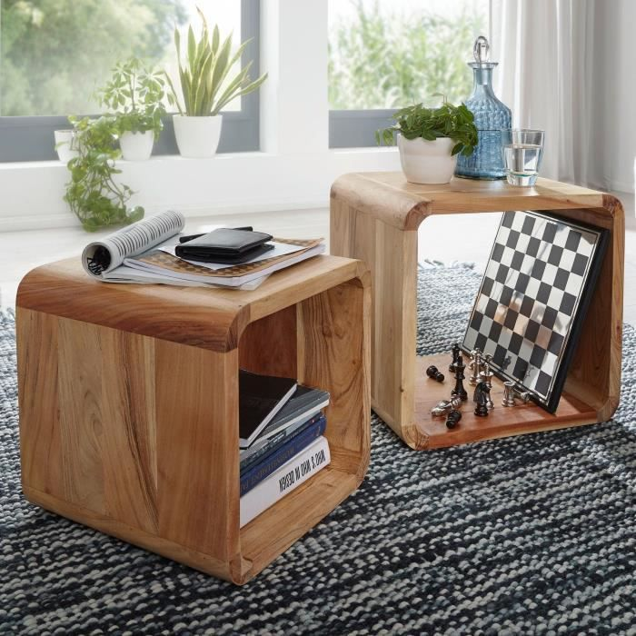Finebuy table en bois massif acacia tables gigognes lat ral ensemble de 2 cub - Table en acacia massif ...
