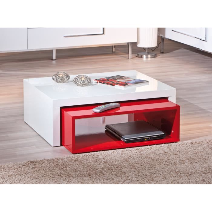 Table basse gigogne rectangulaire rouge et blanc laqu - Table basse rouge laque ...