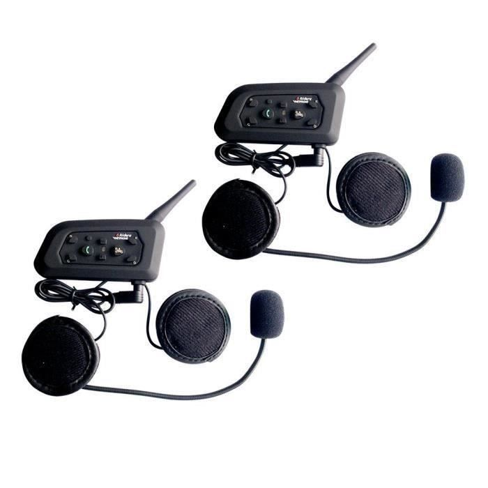 DuoSet Interphone bluetooth 2 voies Intercom-Noir Cardo Freecom 2