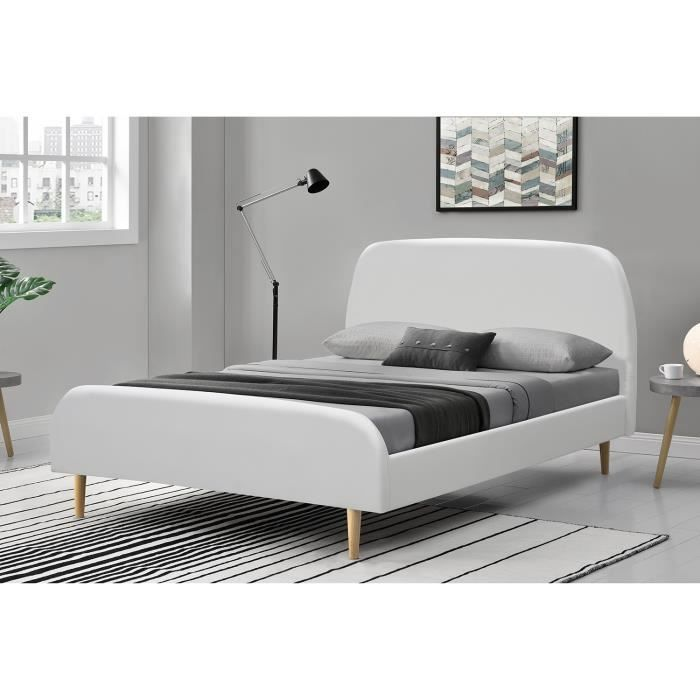 Cadre de lit scandinave Blanc avec Pieds en Bois CONCEPT USINE Lit Norway 140x190cm