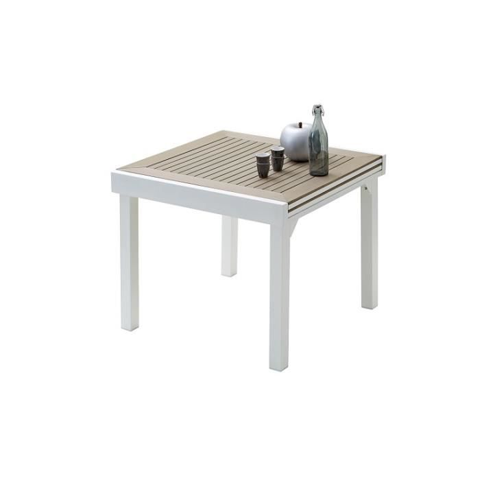 table de jardin modulo blanc bois compo 4 a 8 places avec. Black Bedroom Furniture Sets. Home Design Ideas
