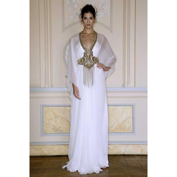 Arabe Caftan,robe de soirée orientale longue bleu col V