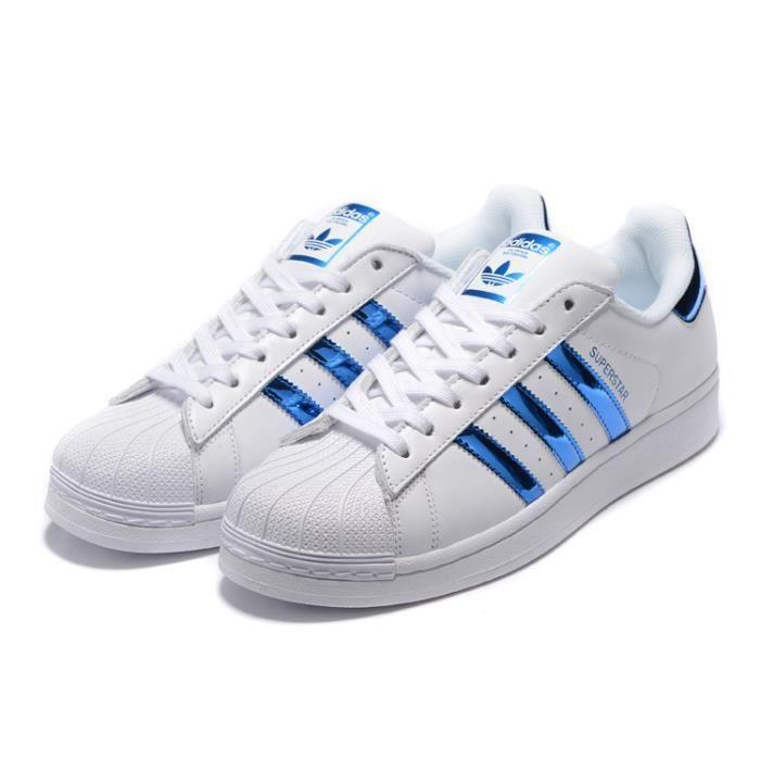 adidas superstar blanc bleu homme