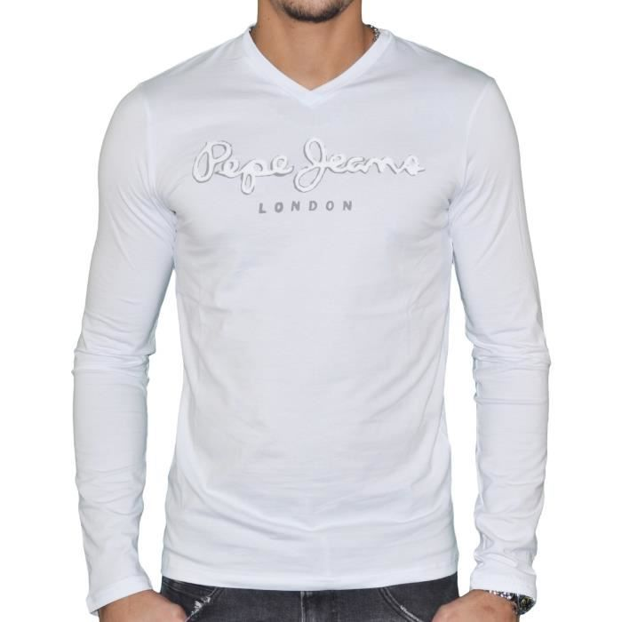 f34966ae3df Pepe Jeans - T shirt manches longues - Homme - Original Stretch Long Flock  - Blanc - Blanc - XL