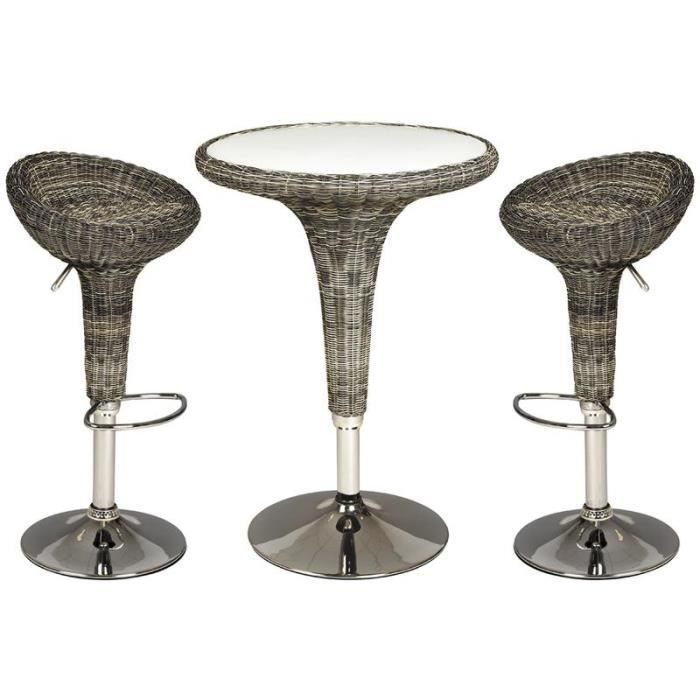 Ensemble de 2 tabourets de bar 1 table haute achat for Achat table bar
