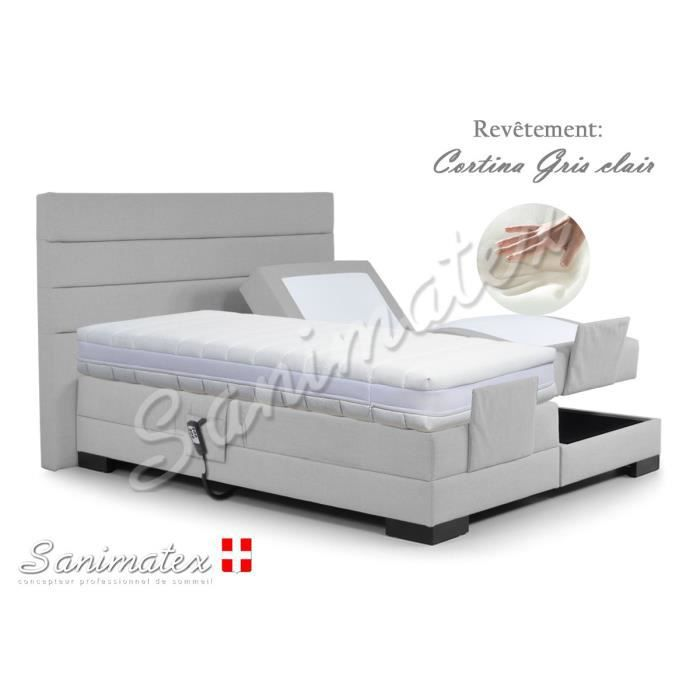 lit electrique boxspring 140x190 coronado niagara taupe achat vente lit complet lit. Black Bedroom Furniture Sets. Home Design Ideas