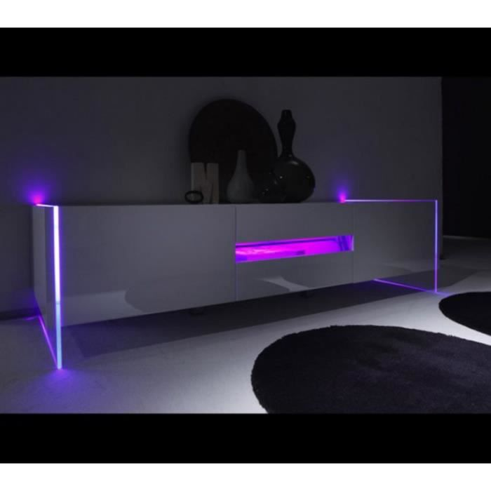 meuble tv blanc laque design led multicolores achat
