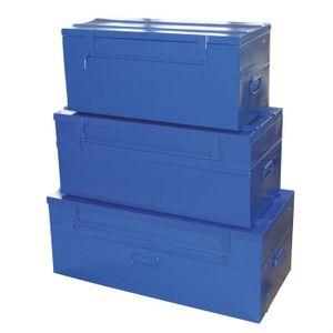 VALISETTE - MALLETTE COGEX 3 malles cadenassables vides en métal bleu