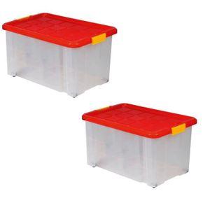 BAC DE RANGEMENT OUTILS Lot de 2 boîtes de rangement plastique transparent