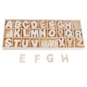 BOITE DE RANGEMENT ARGILE 156 pièces lettres en bois artisanal, alpha
