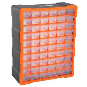 BOITE A COMPARTIMENT Casier de rangement 60 tiroirs orange noir