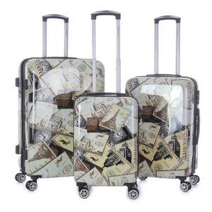 SET DE VALISES Lot de 3 valises rigides Merveilles du monde Taupe