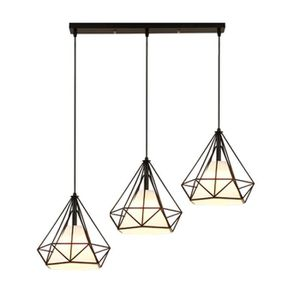 LUSTRE ET SUSPENSION Suspension cage forme diamant lustre abat-jour con