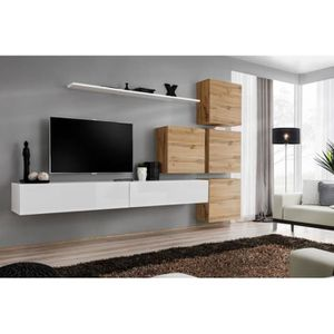 MEUBLE TV Meuble TV mural SWITCH IX design, coloris blanc br