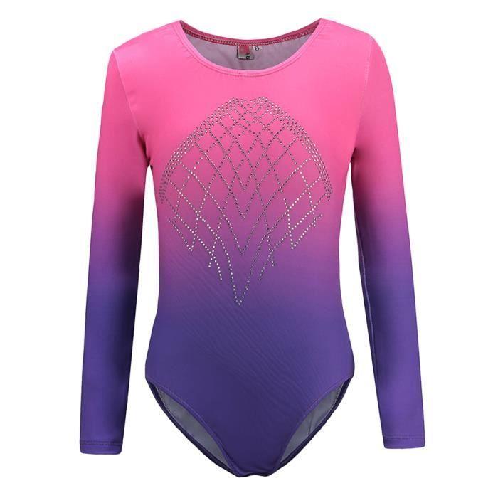 Body de gymnastique de danse une pièce justaucorps pour fille 12 rose + violet
