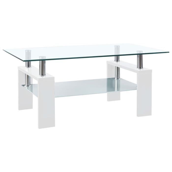 HAO Table basse Blanc 95x55x40 cm Verre trempé