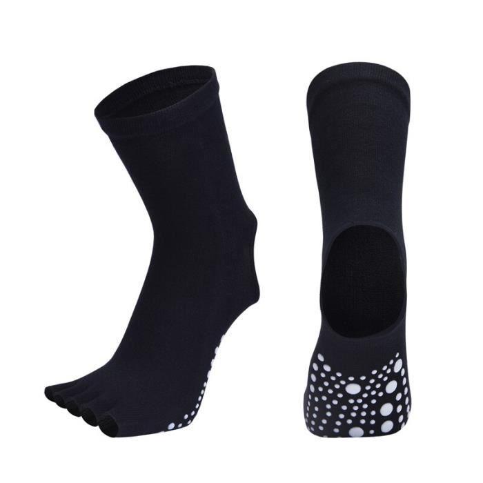 Chaussettes de danse antidérapantes pour femmes, bas en Silicone, demi-doigt, Yoga, Sport, Pilates, hauteur du genou [7EC03CA]