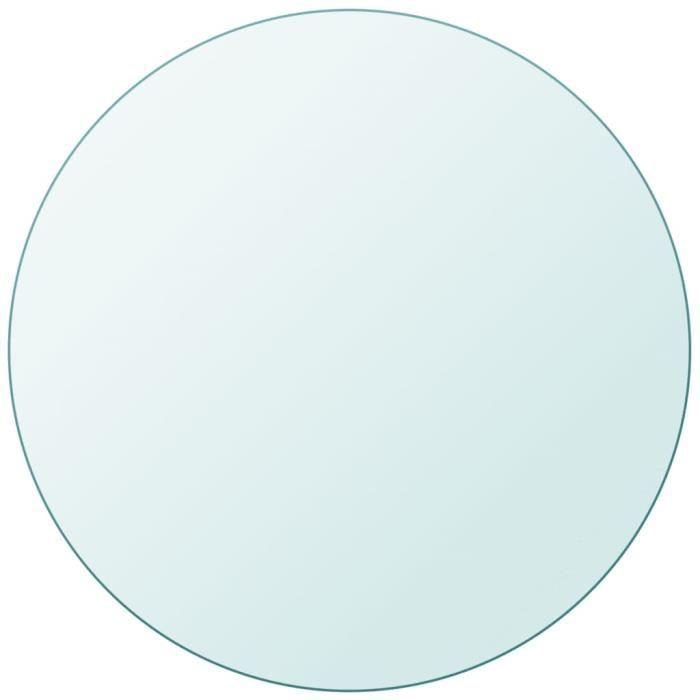 Dessus de table Plateau de table ronde en verre trempé 800 mm