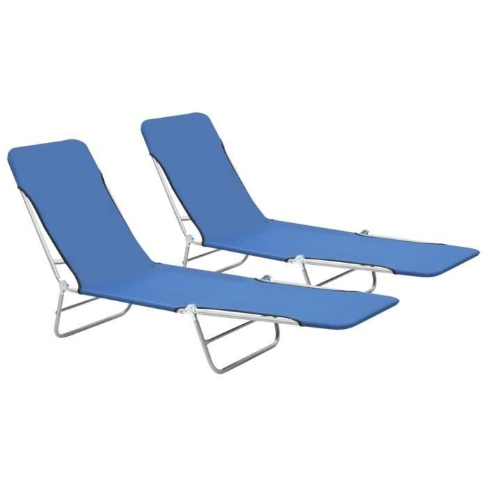 2 Chaises longues pliables-Transat Jardin pliant extérieur Camping Acier et tissu Bleu