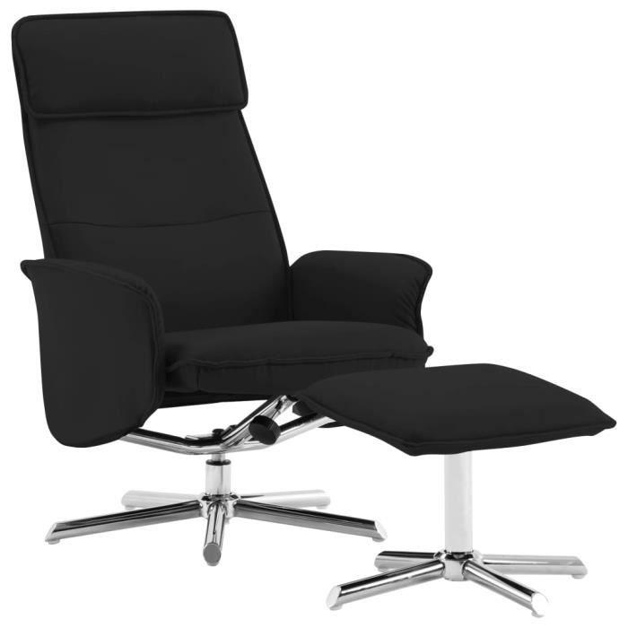 Fauteuil relax inclinable style contemporain confort Fauteuil TV - avec repose-pied Noir Similicuir