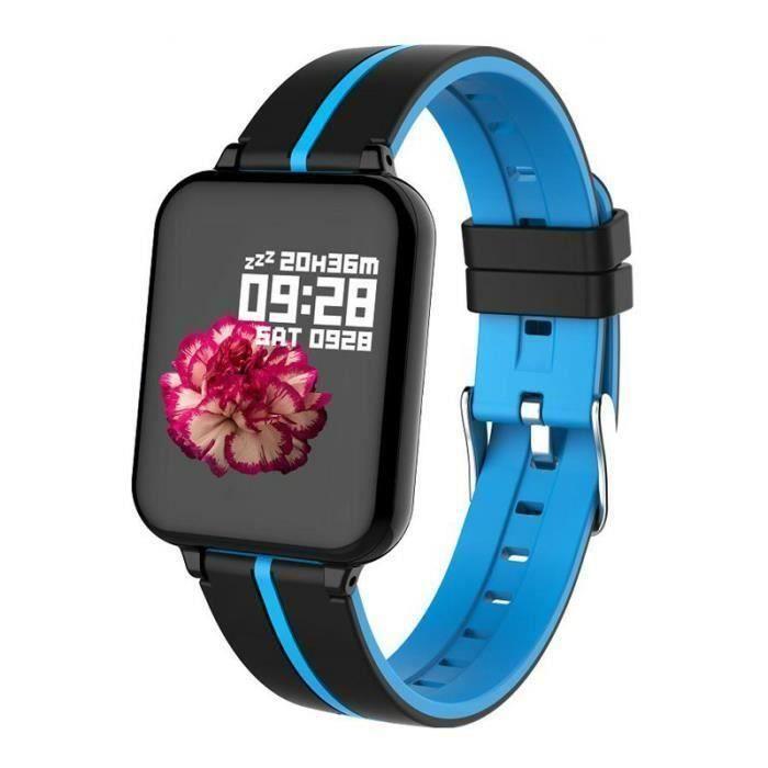Montre Connectée de Femme Noir-Bleu B57, 1,3 - Etanche IPS Ecran Couleur Fitness Sport Surveillance Santé Sommeil