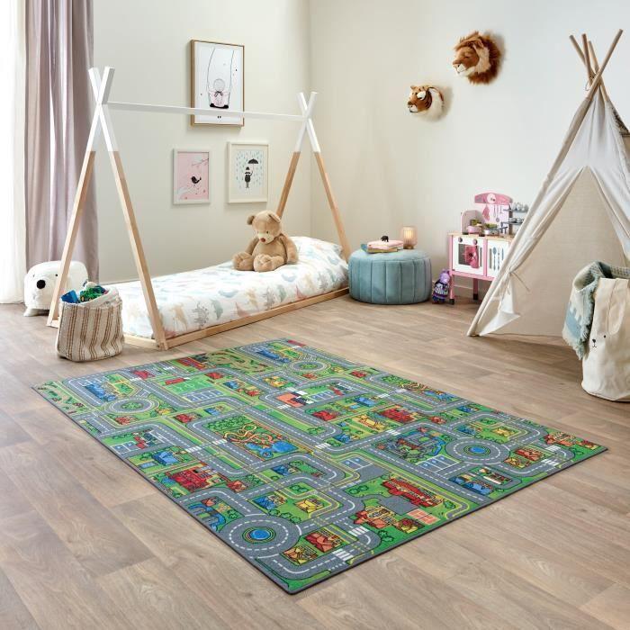 Tapis Voiture Enfant 140x200cm, Playcity, Tapis Circuit Voiture pour Chambre à Coucher, Lavable, Antidérapant - Carpet Studio