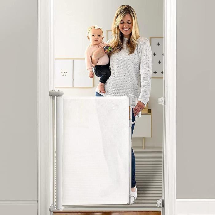 Momcozy Barrière de Sécurité Rétractable pour Bébés (0 à 130 cm), Améliorer Barrière de Securité Escalier, Barrière Sécurité En A32