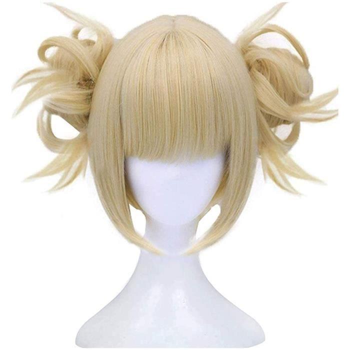 My Hero Academia Himiko Toga perruque de Cosplay Anime courte blonde avec 2 pains à pince détachables