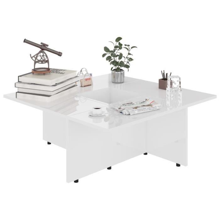 Style Élégance Chic - Table basse style Scandinave - Bout de canapé Table à thé Blanc brillant 79,5x79,5x30 cm Aggloméré - 87190