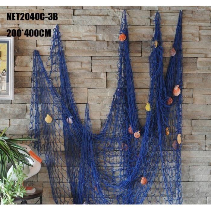 Décoration murale,Style méditerranéen décoratif filet de pêche tenture murale décor accessoires - Type Blue with Shell#150x200cm