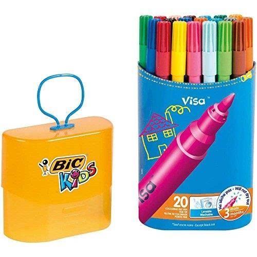 BIC Etui de 20 feutres de coloriage Kids Visa packaging durable