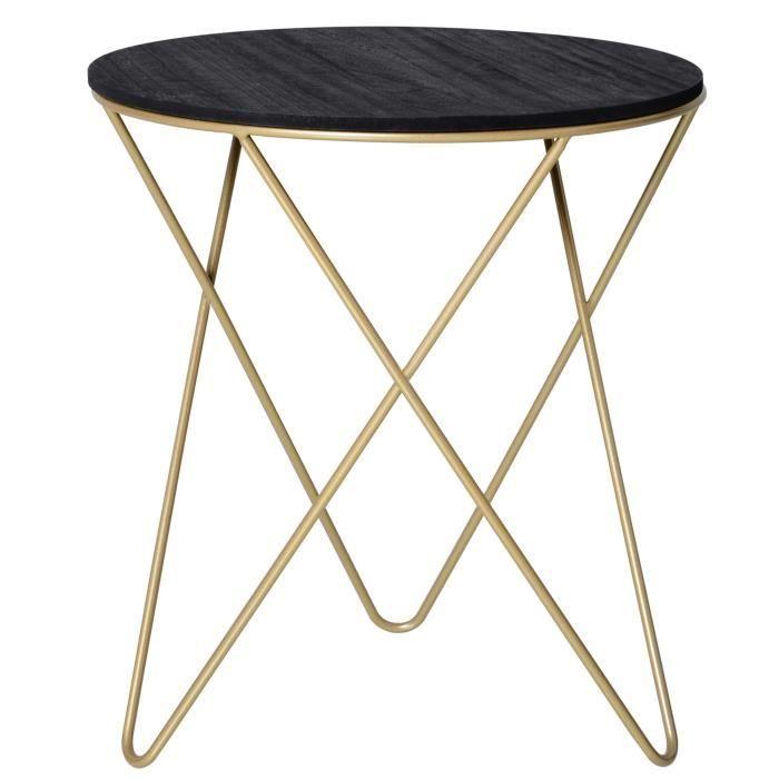 Table basse ronde design style art déco Ø 43 x 48H cm MDF noir métal doré 43x43x48cm Noir