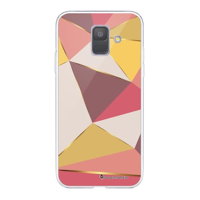 Coque Samsung Galaxy A6 2018 360 intégrale transparente Triangles roses Ecriture Tendance Design La Coque Francaise