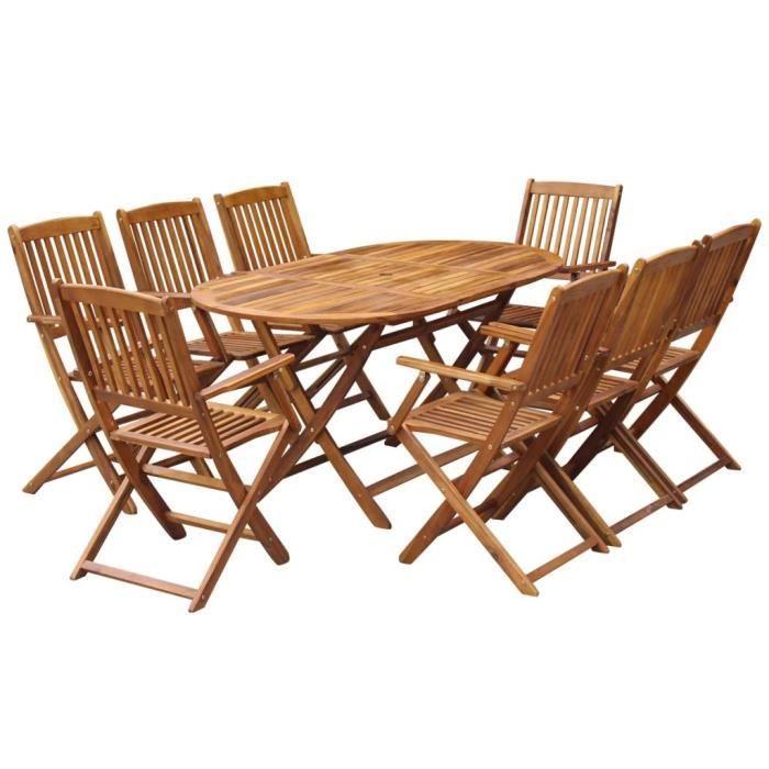 9 pcs Salon de Jardin en Bois d'acacia Massif 1 Table Ovale Pliable et 8 Chaises Pliables