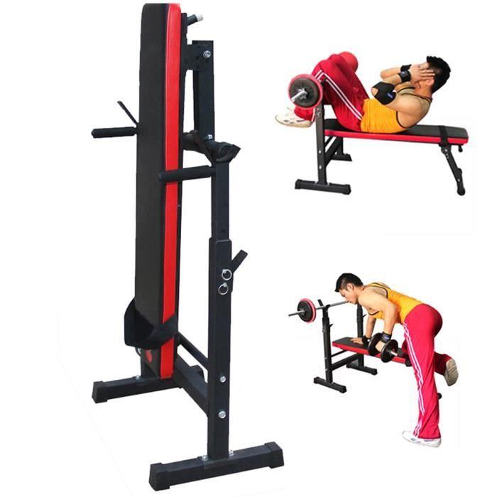 Banc de Musculation avec Support de Barres - Pliable & Réglable Maximum 280kg Banc de Poids, d'Entraînement, Fitness