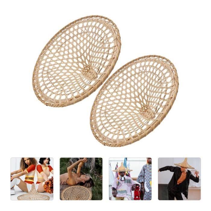 2pcs Creux Bamboo Chapeau de Bambou de Performance de la Fête Drôle de de Beige abat-jour vendu seul luminaire d'interieur