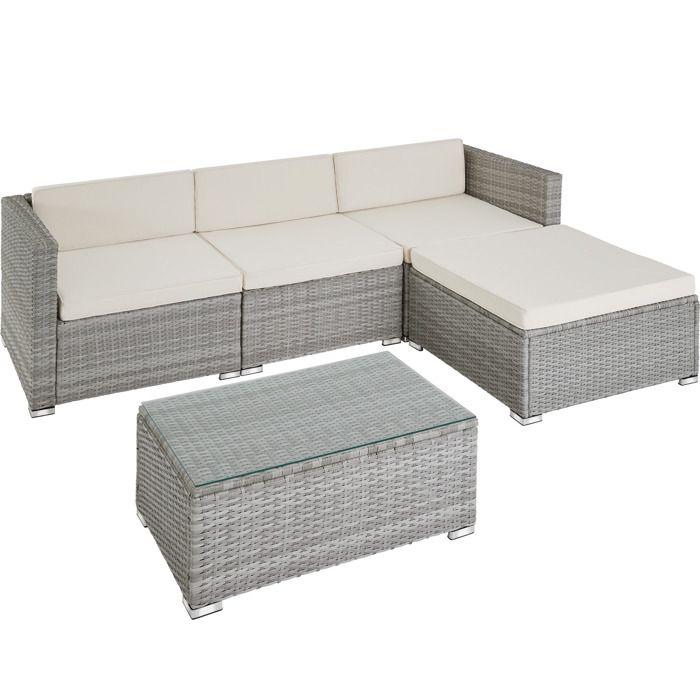 Canapé de jardin FLORENCE 4 places - gris clair