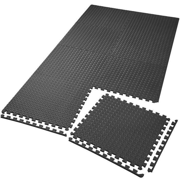 TECTAKE Tapis de Sol de Gym Sport avec 8 Dalles de Protection en Mousse 61 cm x 61 cm Noir