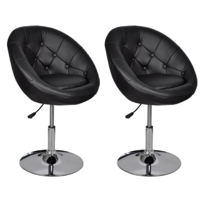 2pcs Fauteuils rétro capitonné Noir moderne Chaise Réglage en hauteur Poids max 150KG 61 x 58 x (80 - 93) cm