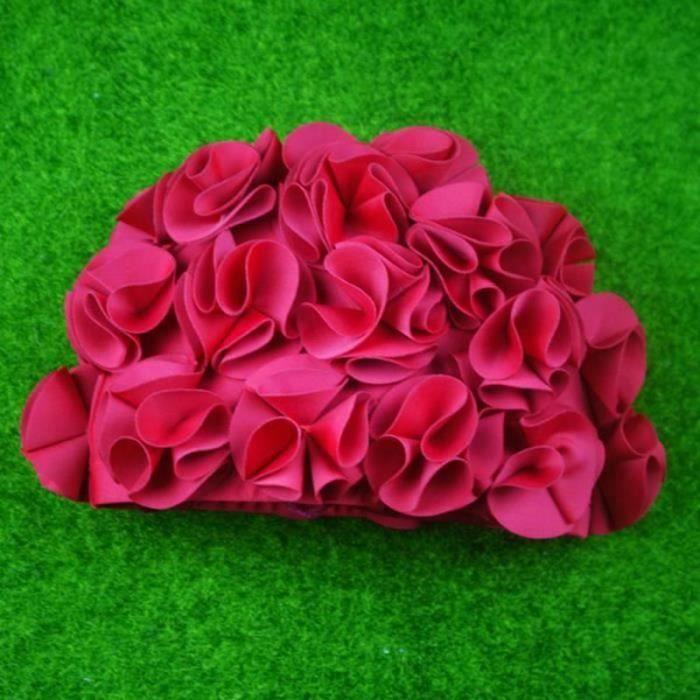QQ17372-Natation Chapeau Femmes Chapeau de bain, Bonnet de bain Pétale, Bonnet de bain Vintage fleur de bonnet de bain rétro rose
