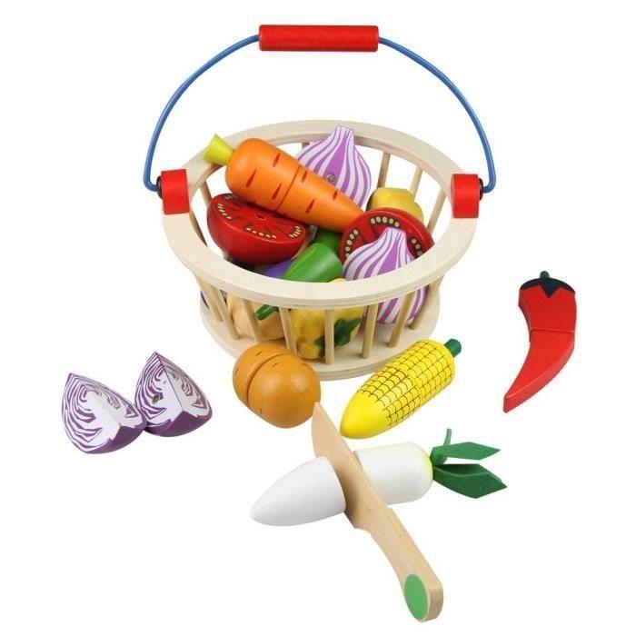 BRICOLAGE - ÉTABLI 12PCS Fruits Légumes Jouets Bois Legumes a Decoupe