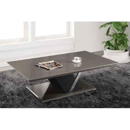 Table basse rectangulaire taupe laqu zeta achat vente - Table basse taupe laque ...