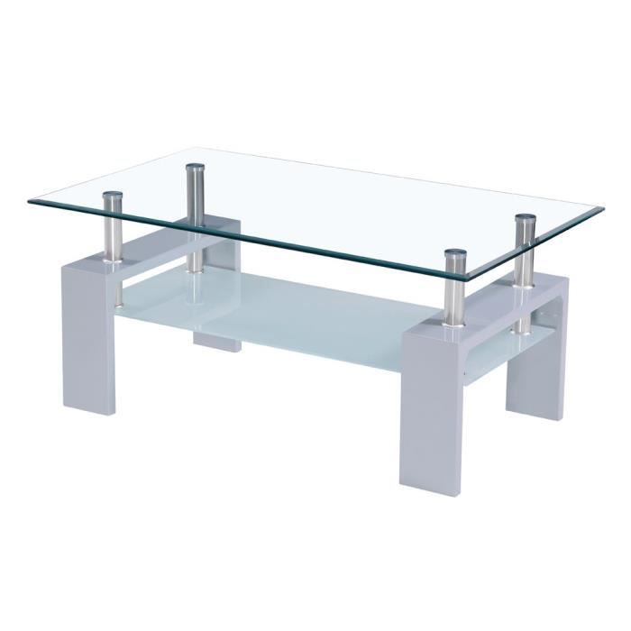 Table basse plateau en verre grise achat vente table for Table basse scandinave plateau en verre