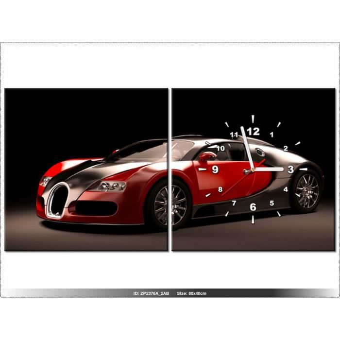 80x40cm rouge bugatti veyron voiture sport horloge murale tableau deco moderne new. Black Bedroom Furniture Sets. Home Design Ideas