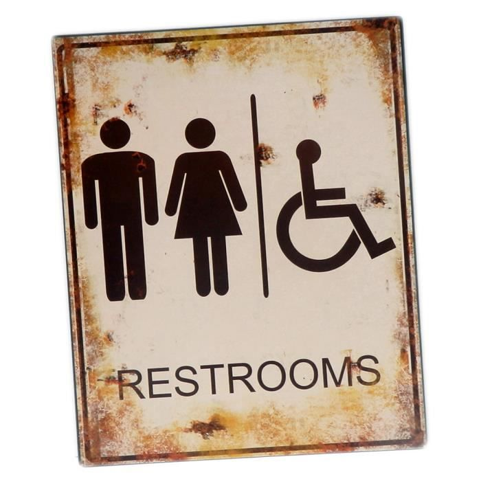 Plaque d corative toilettes restrooms en m tal d co murale for Plaque murale decorative metal