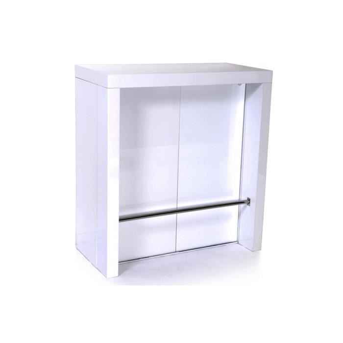 Table haute console extensible 2 rallonges blanc laqu magic achat vente - Cdiscount console extensible ...